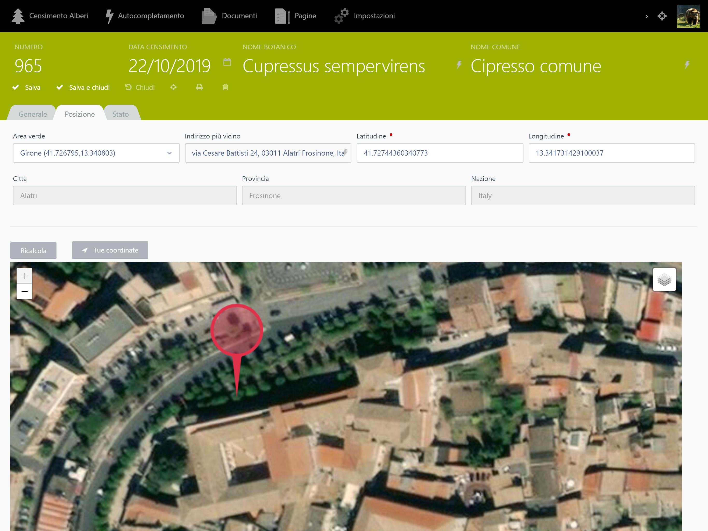Screenshot inserimento